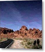 Paint Mixed Valley Of Fire Landscape  Metal Print