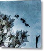 Painted Cranes Metal Print