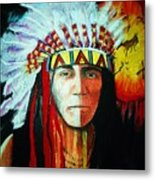 Painted Face Warrior Metal Print