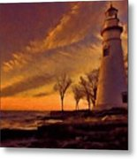 Painted Marblehead Lighthouse Metal Print