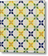 Painted Patterns - Floral Azulejo Tiles In Blue Green And Yellow Metal Print