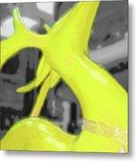 Painted Reindeer Yellow Metal Print