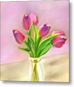 Painted Tulips Metal Print