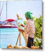 Painter At Work, Holetown Beach, Barbados Metal Print