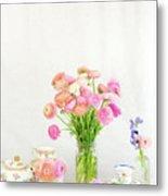 Painterly Ranunculus Tea Time Metal Print