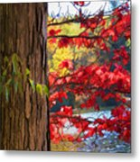 Painterly Rendition Of Red Leaves And Tree Trunk In Autumn Metal Print