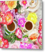 Painterly Tea Party With Fresh Garden Roses II Metal Print