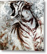 Painting Abstract Tiger Collage On Color Abstract  Background  Rust Structure Wildlife Animals Metal Print