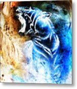 Painting Abstract Tiger Collage On Color Space Background Wildlife Animals. Metal Print