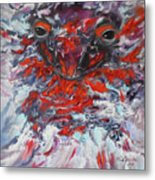 Painting Breathing Salamander In Abstract Style Metal Print
