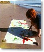 Painting In Sand Metal Print