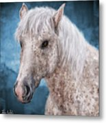 Painting Of A Brindle Horse With White Coat Metal Print