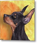 Painting Of A Cute Doberman Pinscher On Orange Background Metal Print