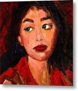Painting Of A Dark Haired Girl Commissioned Art Metal Print