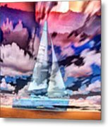 Painting Of Boats In Red Sunset Colors Metal Print