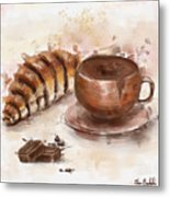 Painting Of Chocolate Delights, Pastry And Hot Cocoa Metal Print