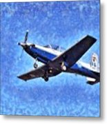 Painting Of Daedalus Demo Team Of Hellenic Air Force Flying A T-6a Texan II Metal Print