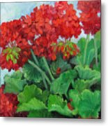 Painting Of Red Geraniums Metal Print by Cheri Wollenberg