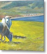 Painting Of Sheep On A Cliff Top Metal Print