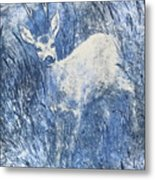 Painting Of Young Deer In Wild Landscape With High Grass. Graphic Effect. Metal Print
