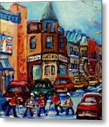 Paintings Of Montreal Hockey On Fairmount Street Metal Print