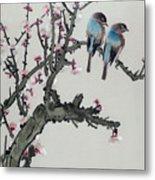 Pair Of Birds On A Cherry Branch Metal Print