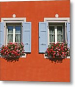 Pair Of Blue Shutters Metal Print