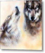 Pair Of Wolves Metal Print