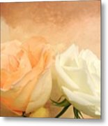 Pale Peach And White Roses Metal Print