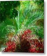 Palm And Azaleas Metal Print
