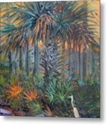 Palm And Egret Metal Print