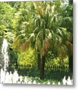 Palm And Fountain Metal Print