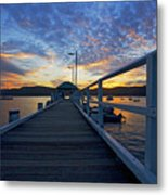 Palm Beach Wharf At Dusk Metal Print by Avalon Fine Art Photography