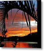 Palm Framed Sunset Metal Print