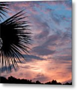 Palm Frond At Dusk Metal Print