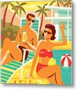 Palm Springs Poster - Retro Travel Metal Print