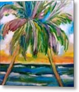 Palm Tree Color Times Two Metal Print