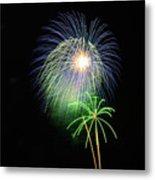 Palm Tree Fireworks Metal Print