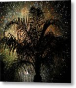 Palm Tree Fireworks Metal Print