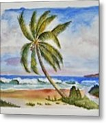 Palm Tree Ocean Scene Metal Print