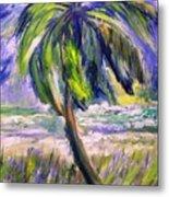 Palm Tree On Windy Beach Metal Print