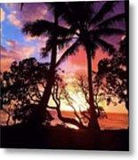 Palm Tree Silhouette Metal Print