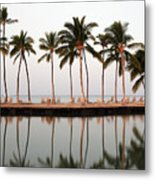 Palm Trees And Beach Chairs Metal Print