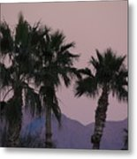 Palm Trees And Mountains At Sunset #1 Metal Print