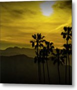 Palm Trees At Sunset With Mountains In California Metal Print