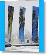 Palm Trees In Snowstorm Metal Print