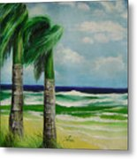 Palm Trees In The Wind Metal Print