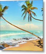 Palm Trees Over The Sea Metal Print