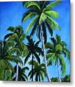 Palm Trees Under A Blue Sky Metal Print