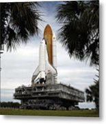 Palmetto Trees Frame Space Shuttle Metal Print by Stocktrek Images